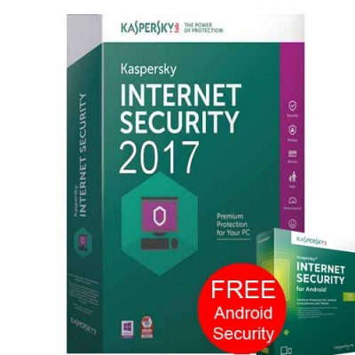 Kaspersky Internet Security 2017 1PC 1 Year FREE Android Security