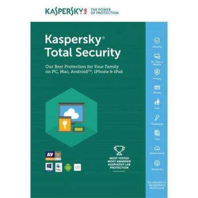 Kaspersky Total Security Multi Device 2017 / 1 Year /  1 Device / Mac or windows or Android